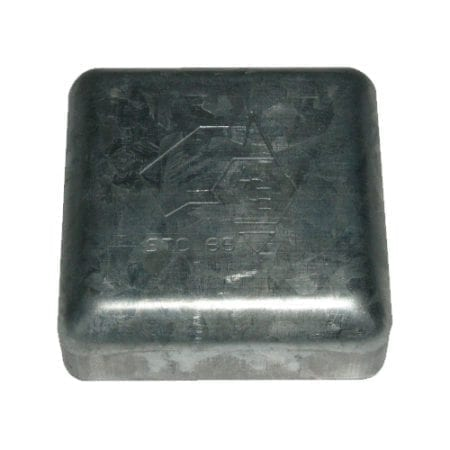 100mm  Square Tube Caps - Galvanised - STC100